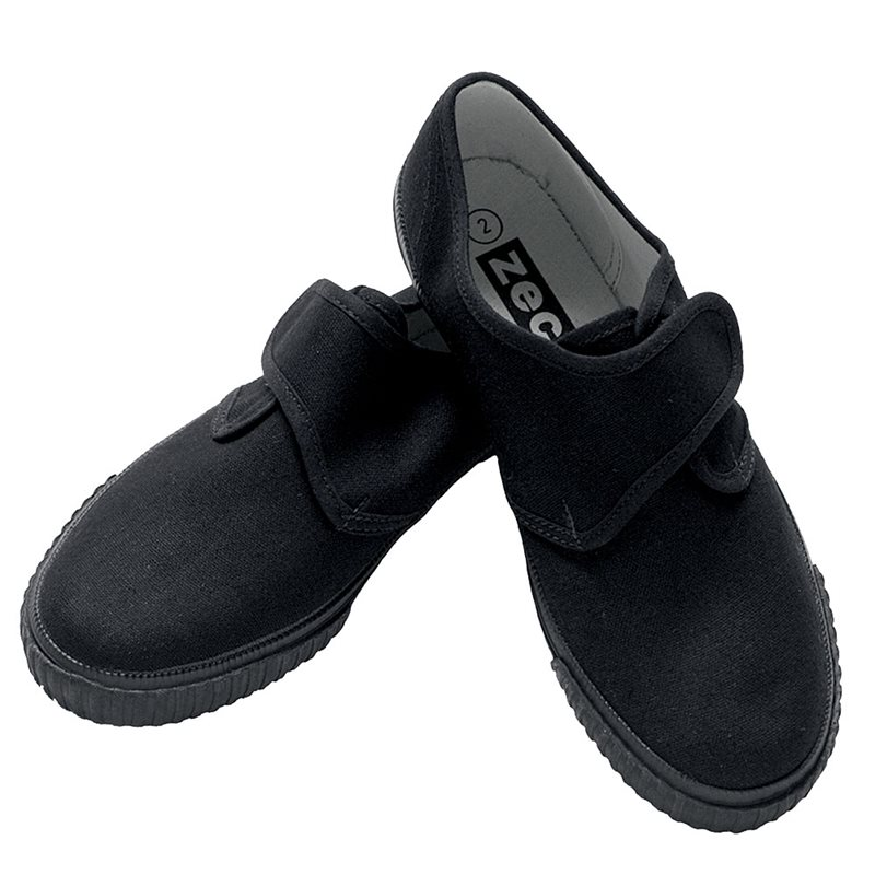 PE Pump with velcro fastening for easy fit, cushioned insole, full size range.